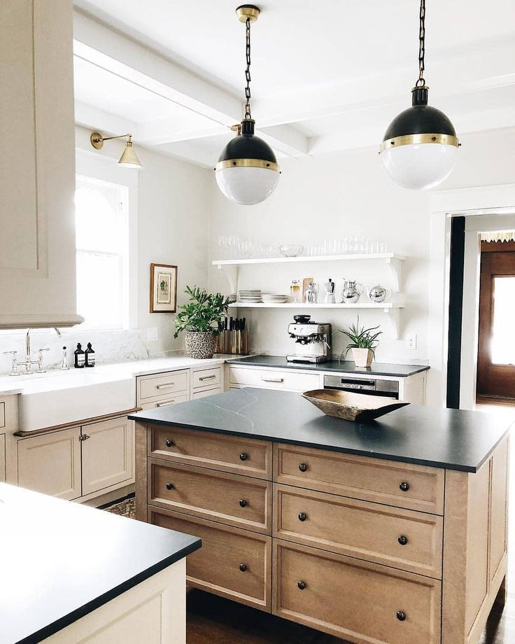 Warm Wood And White Kitchen With Brass And Black Accents With