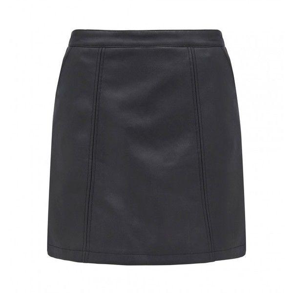 Mia panelled PU mini skirt ($54) ❤ liked on Polyvore featuring skirts, mini skirts, short skirts, short mini skirts, panel skirt, mini skirt and pu skirt
