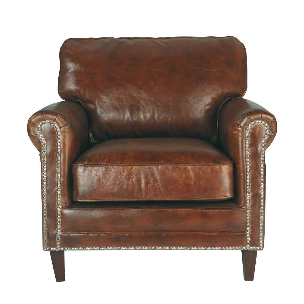Bruine leren zetel met verweerd effect Armchair, Brown