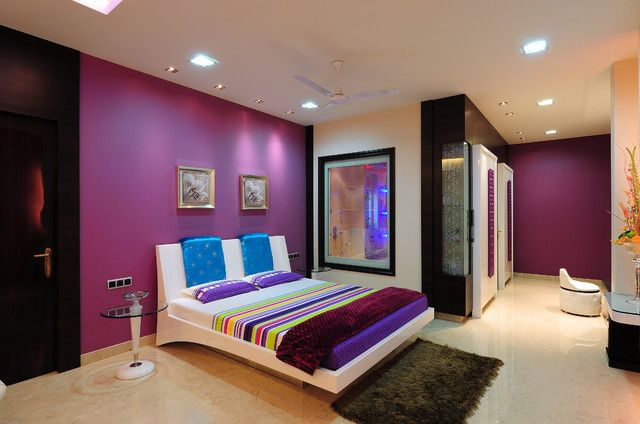 Cute Unique Teenage Bedrooms With Modern Bed And Round Glass Side Table Dazzling Ceiling Lights Warm Fur Rug