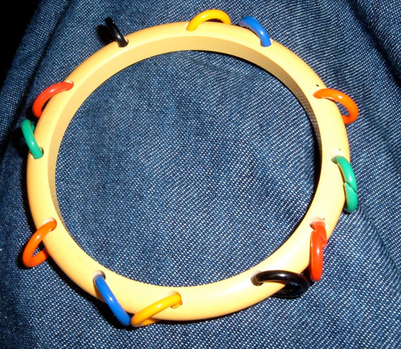 vintage bakelite tambourine bangle bracelet butterscotch yellow multi.