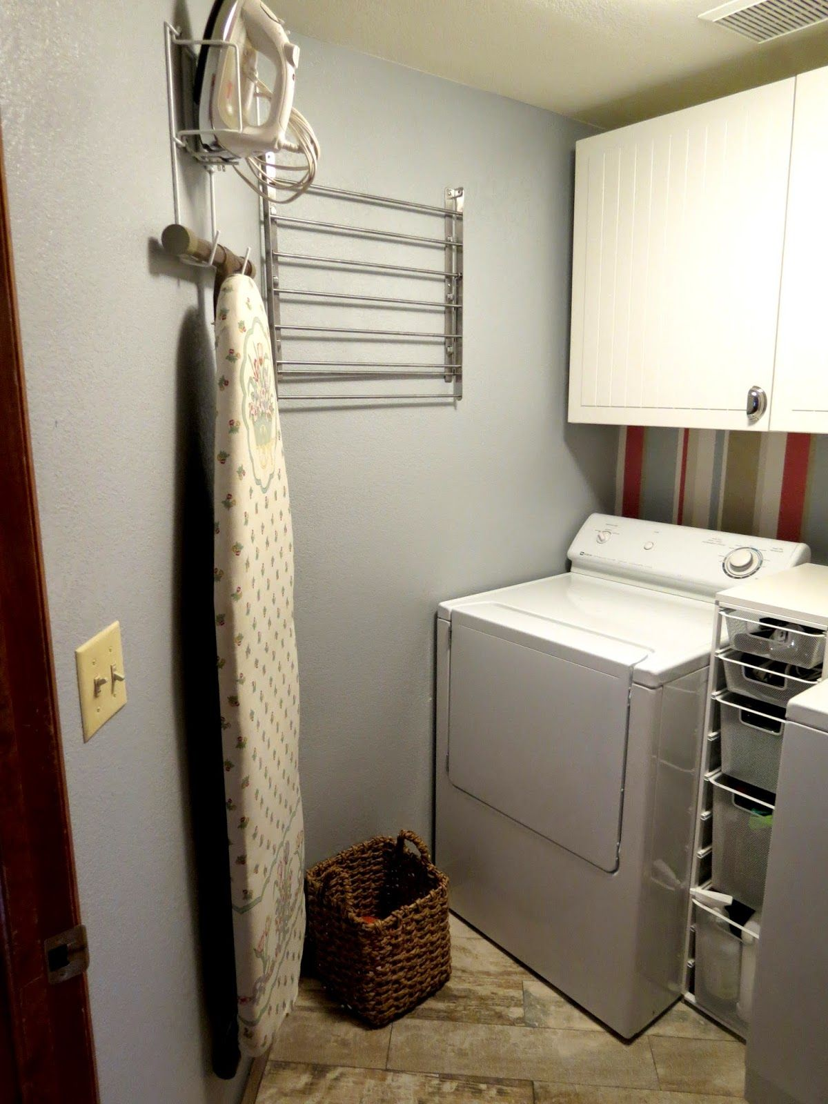 Laundry Room Remodel, Country Chic, White Slatted Cabinets, Stripped Wallpaper