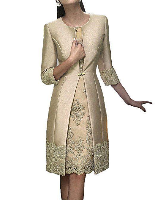 HWAN Satin Mutter der Braut Kleid Applikationen kurze formale ...