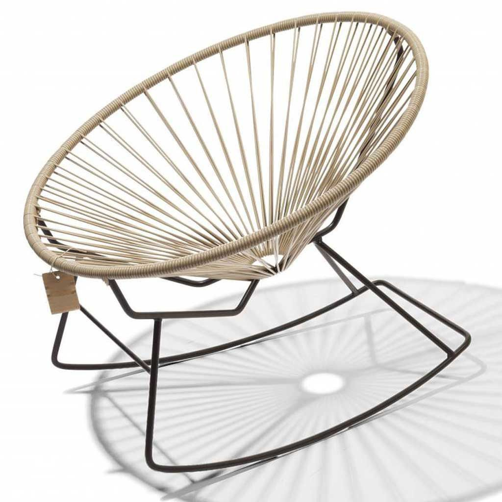 Acapulco chair cb2 - Furniture Condesa Beige Rocking Chair Hutsly A Twist On The Classic Acapulco Chair