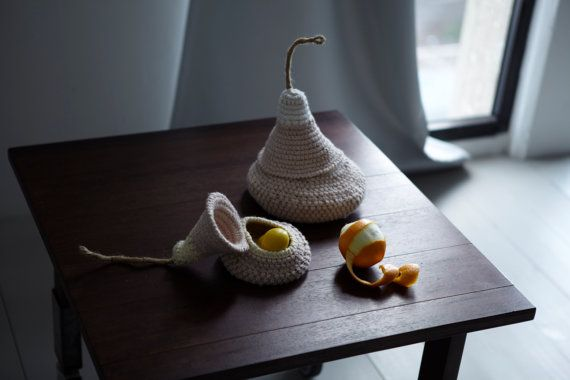The Pod Family Baskets in light brown - set of two. hand knit and crochet designs by Lena Maikon via Etsy.