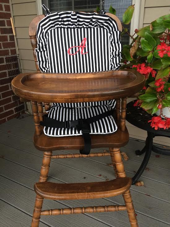 Astonishing Wooden Highchair Cover Cushion Pad Black Stripe For Wooden Inzonedesignstudio Interior Chair Design Inzonedesignstudiocom