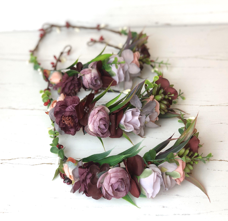 Burgundy blush flower crown wedding floral crown bridal