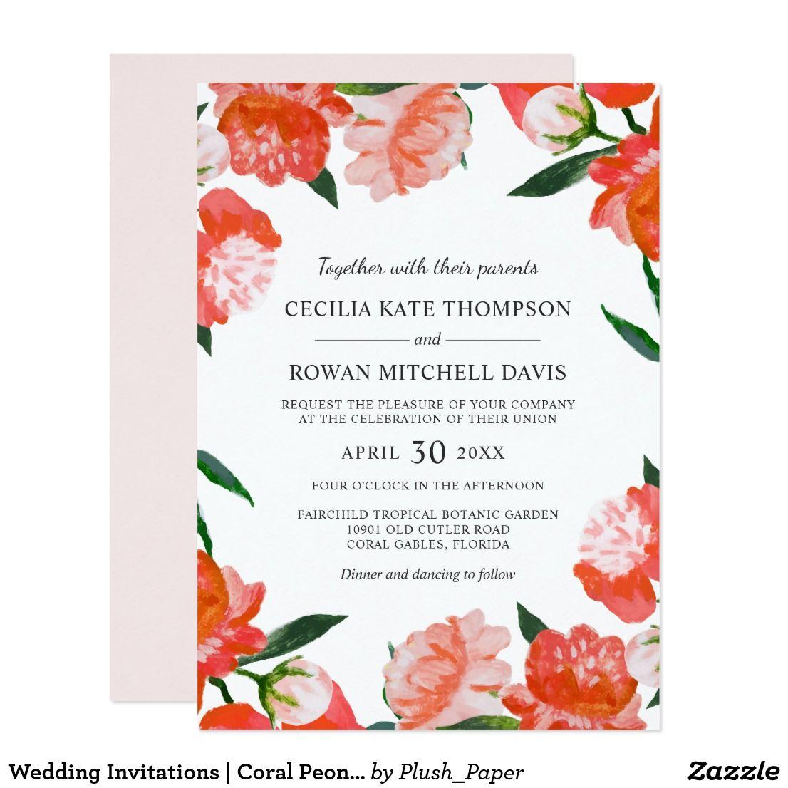 Wedding Invitations | Coral Peony Flowers | Zazzle.com