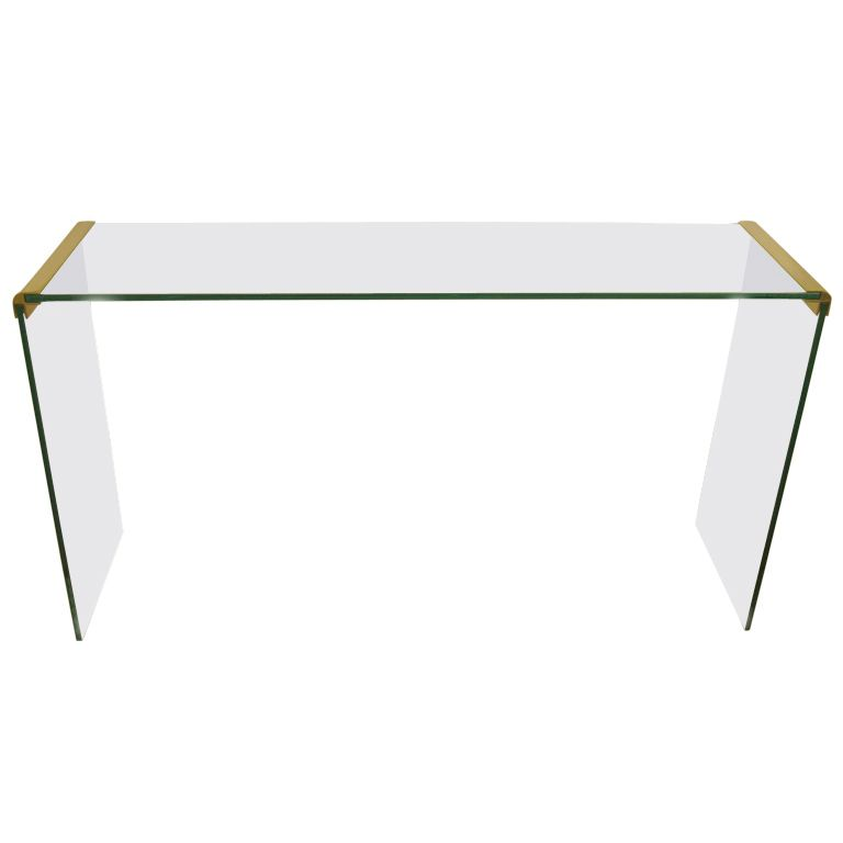 Pace Console Sofa Table by Leon Rosen in Brass and Glass
