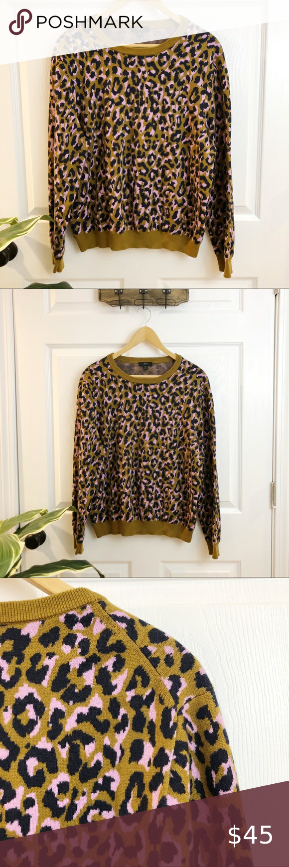 J.Crew | Green Purple Crewneck sweater in leopard J.Crew Classic Crewneck Leopard Print Sweater. In a comfy cotton-and-merino wool blend. Long Sleeves and cuffed sleeves and hem.   Gently worn and in great condition with no issues to disclose. Size XXL  Measurements Length: 24 inches Bust:  23 inches  J.Crew Item number: M0429  Cotton/polyester/merino wool. J. Crew Sweaters Crew & Scoop Necks