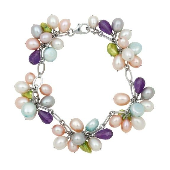 Women's #Fashion #Jewelry: Diamonds and Gemstones:  Freshwater Pearl, Peridot, Amethyst, Quartz, Citrine And Agate Clusters On Silver Oval Chain #Bracelet: Bracelets