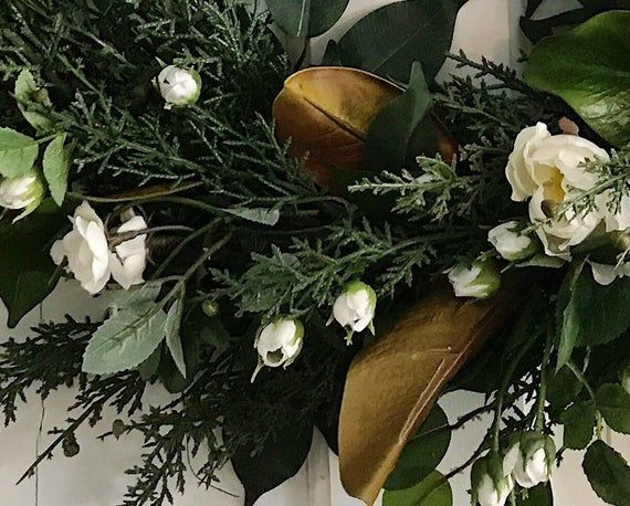 Photo of Wreath for all year. Year round wreath. Big hoop wreath. Grapevine hoop wreath. Magnolia leaf wreath. Farmhouse magnolia wreath