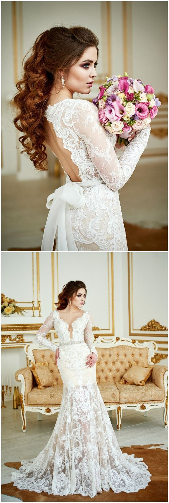 Wedding dress renaissance lace wedding dress bohemian wedding