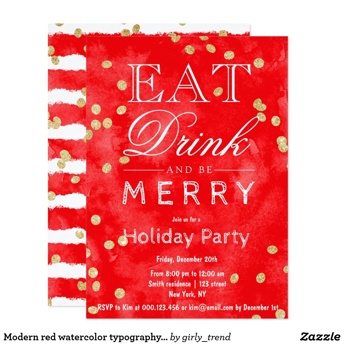 Modern red watercolor typography Christmas party Card   Watercolor ...