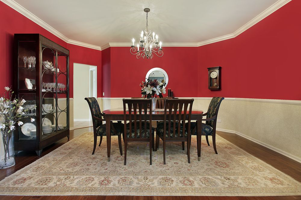 Great Dining Room With Red Upper Half Walls, Dark Wood Dining Set And Dark Wood  Floor