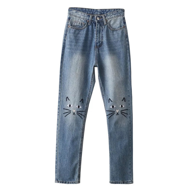 22.00$  Buy now - http://alibts.shopchina.info/go.php?t=32801221107 - Women high rise jeans straight jeans denim cat embroidery 22.00$ #buyininternet