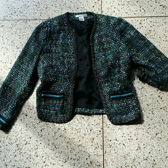Vintage look blazer Uniquely designed beads. 2 front pockets, blues greens, browns, used, in fine condition.  Acrylic polyester. Pursuits, ltd Jackets & Coats Blazers