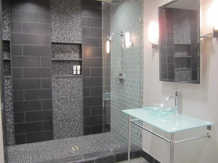 Like The Dark Gray Tiles And The Light Gray Grout Color
