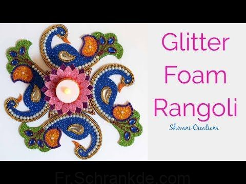 YouTube ~ DIY Glitter Foam Rangoli; Rangoli Designs for Diwali; Foam Tealight Holder. #rangolidesignsdiwali