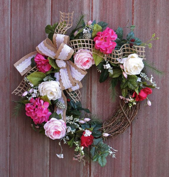 Spring Wreath Grapevine Wreath Rustic Wreath by HilltopRustics