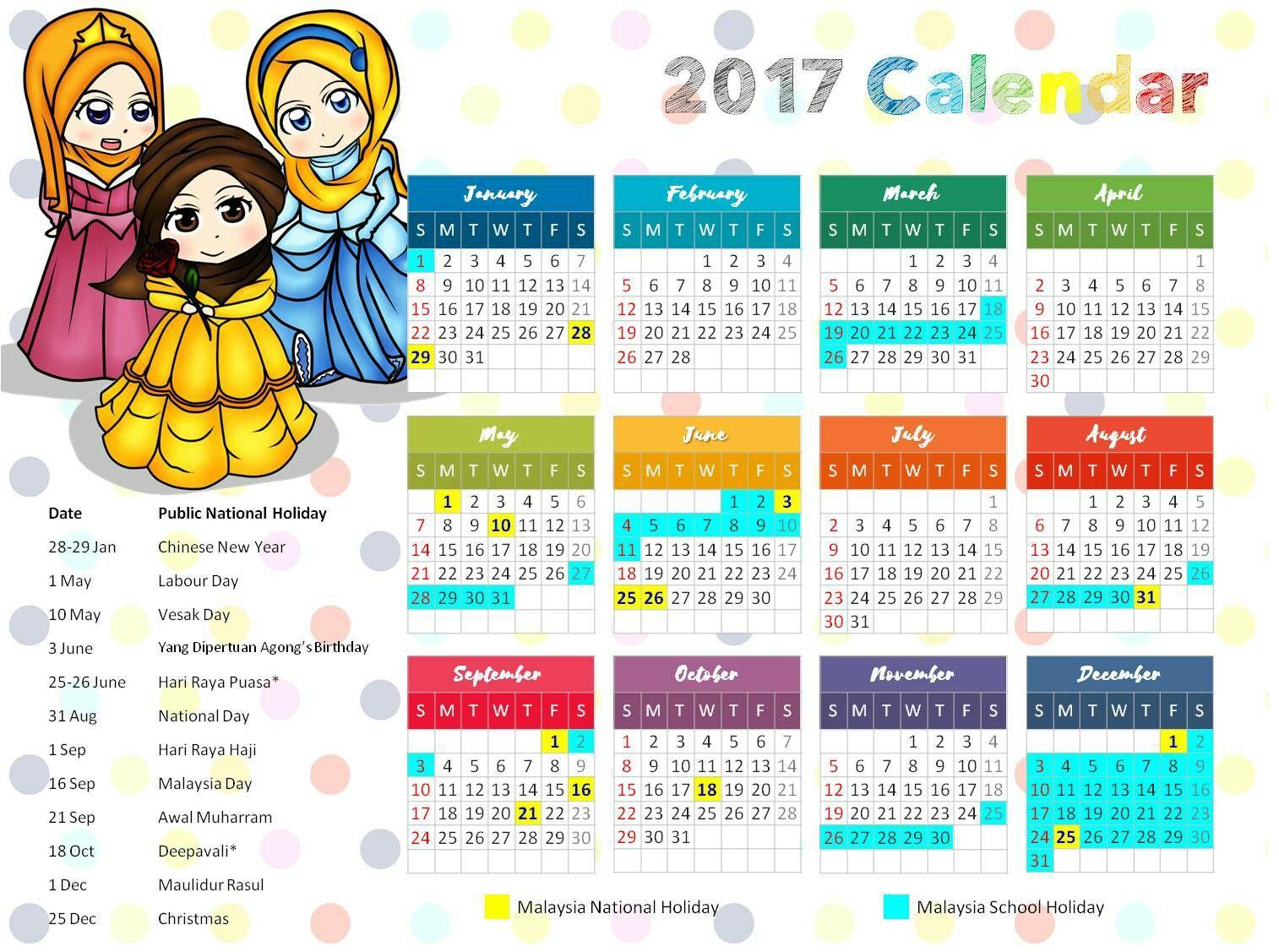 Kalendar Disney Princess Versi Muslimah Percuma