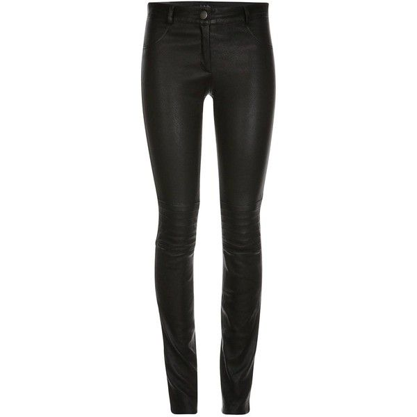 ELLESD - Zahra Leather Stretch Pants (1.505 BRL) ❤ liked on Polyvore featuring pants, jeans, bottoms, black, trousers, long pants, genuine leather pants, zipper pants, zip pants and evening pants