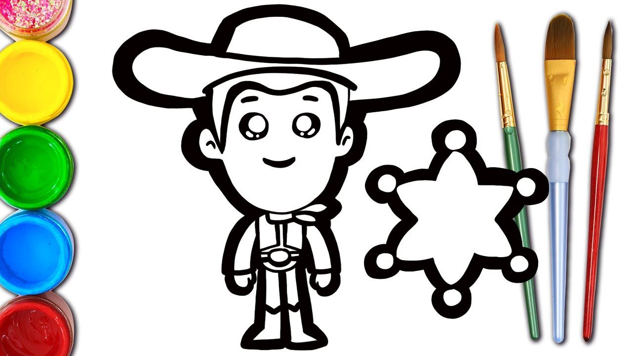 This Is Cute Woody From Toy Story 4 Coloring Page For Kids Let S Draw Color Woody With Spaky You Can Learn Co Woody Toy Story Learning Colors Cute Drawings