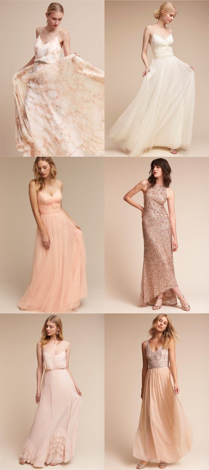 Floral, Peach, Blush and Cream Bridesmaid Dresses to Mix and Match