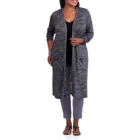 Faded Glory Womens Plus Size Sweater Knit Duster Size 3xl Black
