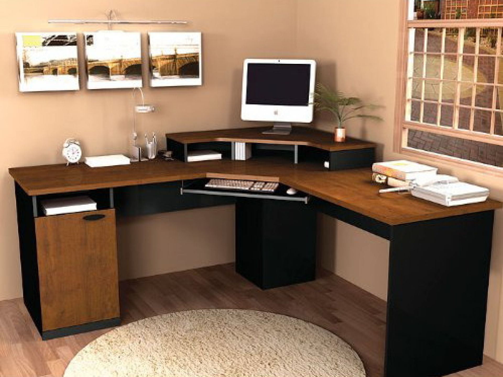 Workspaces Wooden Corner puter Desk With Cute Wall Hangings And