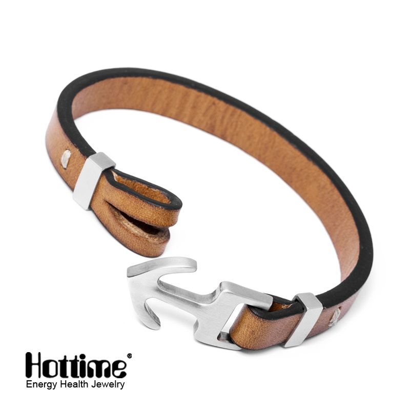 f948b312156a Aliexpress.com  Comprar Hottime nuevo diseño de italia de cuero genuino  hombre brazalete toggle broches pulseras de anclaje de la famosa marca de  calidad 3 ...