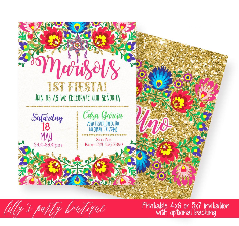 Fiesta Birthday Invitation, Mexican Fiesta Invitation, Mexican ...