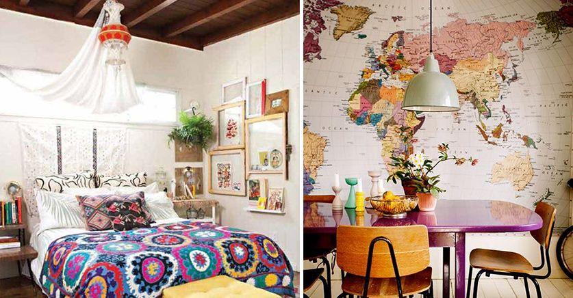 mapas estampados en paredes maletas que se convierten en muebles y tejidos con motivos exticos