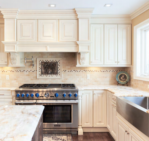 Ivory Glazed Kitchen Cabinets: This Kitchen Features J&K Crème Maple Glaze Cabinets. The