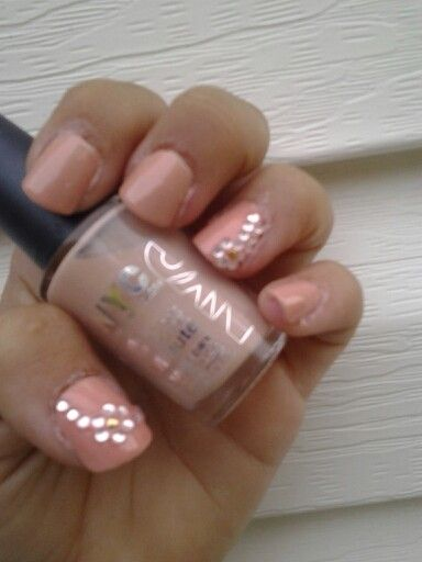 Safari medium NYC polish, Sally Hansen stud kit, KISS acrilic nails- it took me a little while, but i prefer my nails simple but elegant. A beautiful addition to a wonderful day! ~bridesmaid nails~