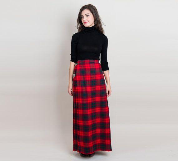 Vintage Scottish Wool Maxi Kilt Red Tartan Plaid By Delabelle Kilt Red Tartan Plaid Dress Skirt