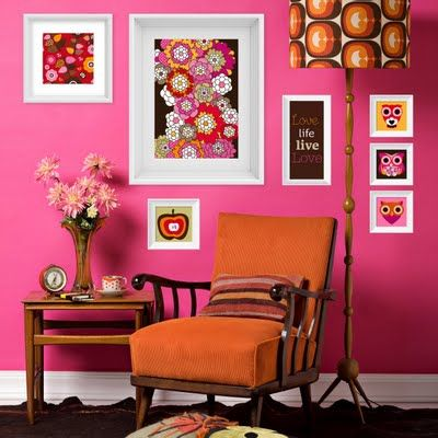 Retro interior wall inspiration. Love the use of color, texture ...
