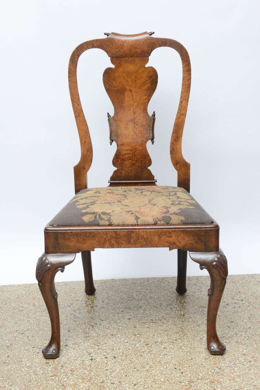 Set of six georgian side chairs with needlepoint seats circa 1900 from a unique