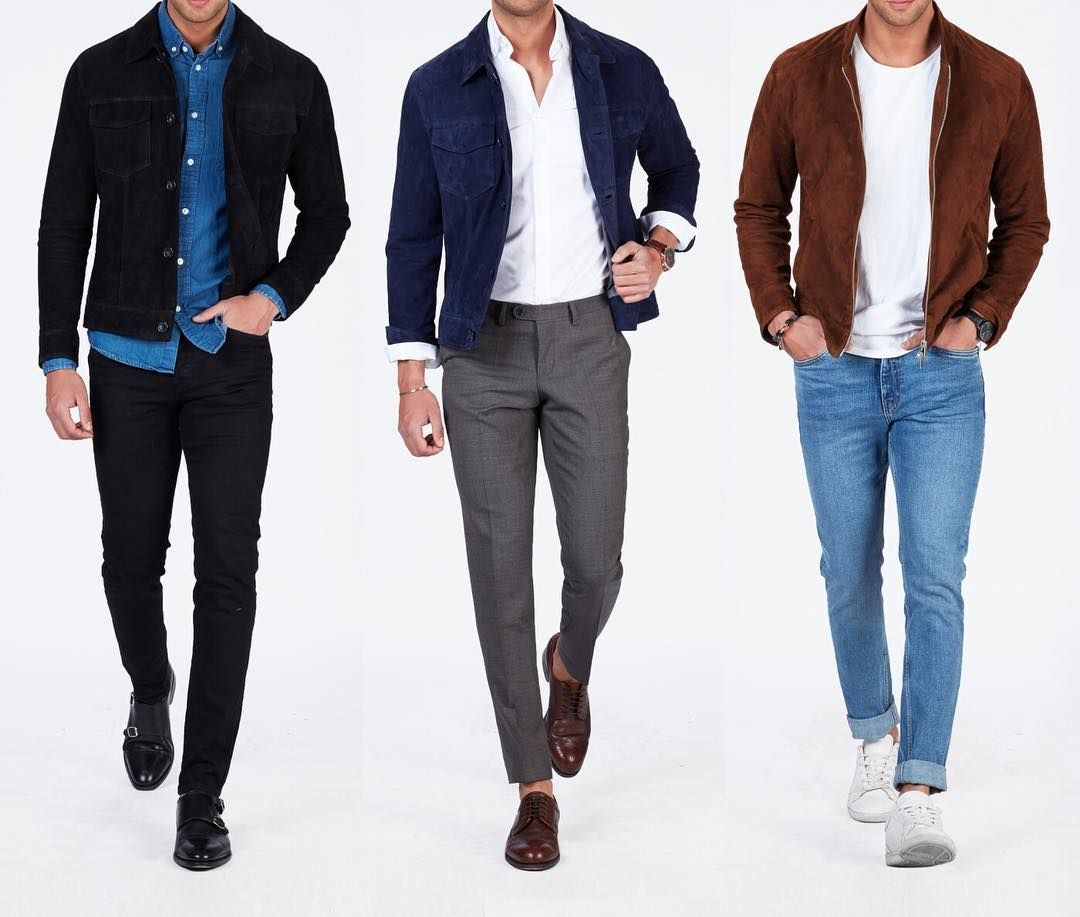 Triplets in Suede! Which of these versatile outfits would be your go-to look?www.Grandfrank.com