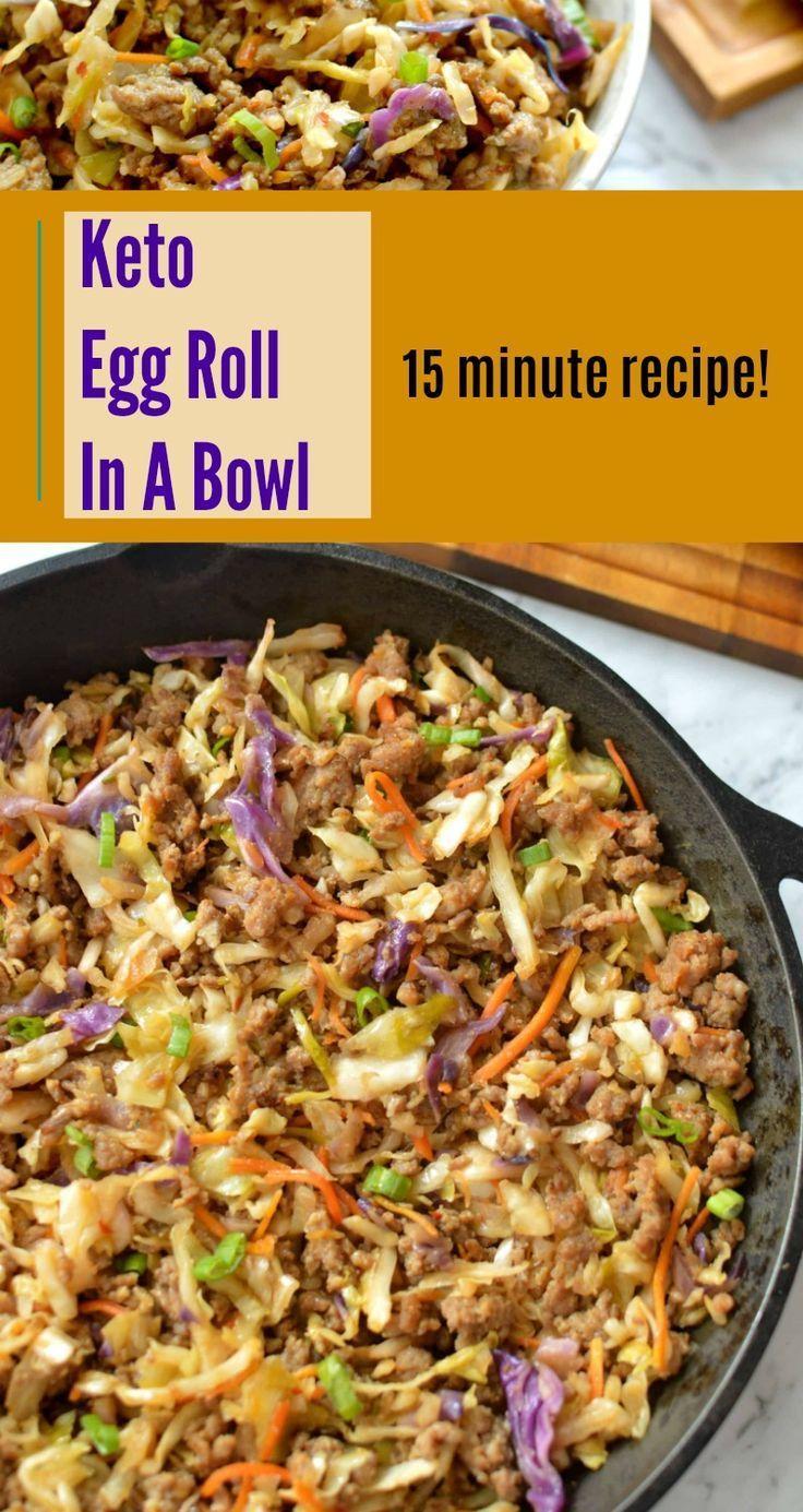 Best 15 minute Keto Egg Roll In A Bowl!  #ketodinner #keto #ketorecipes #eggroll #eggrollinabowl #eggrollbowl #ketodiet #easyrecipes #eggrollinabowl