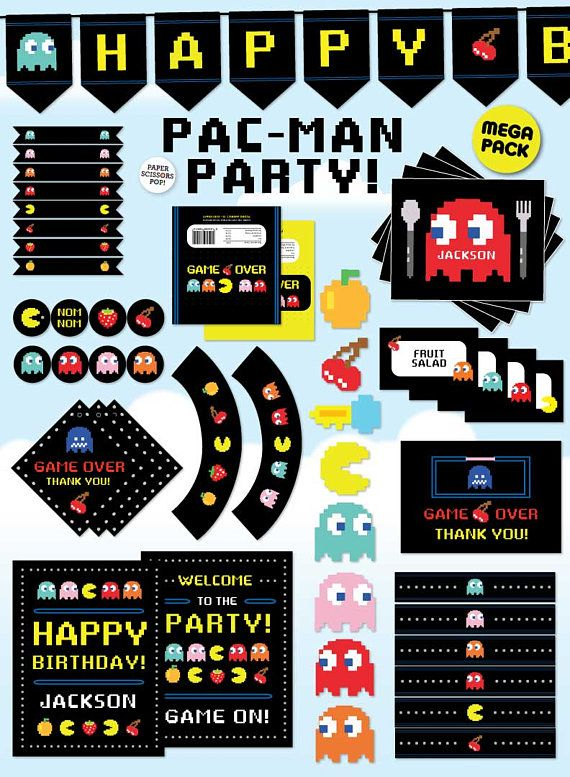 Pac Man Decorations Gaming Party Decorations Pac Man Printables