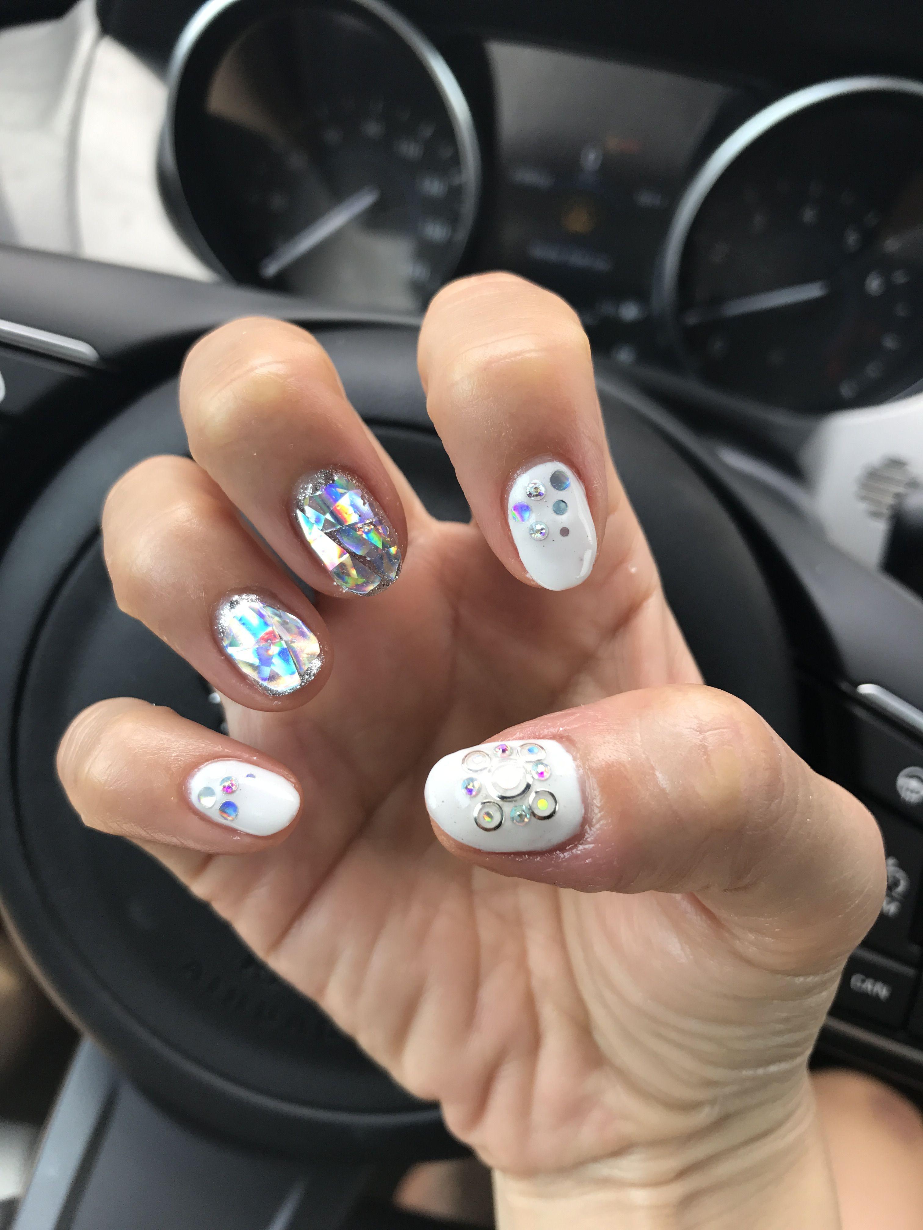 Korean gel nail design trend - white hard gel with hologram glitter ...