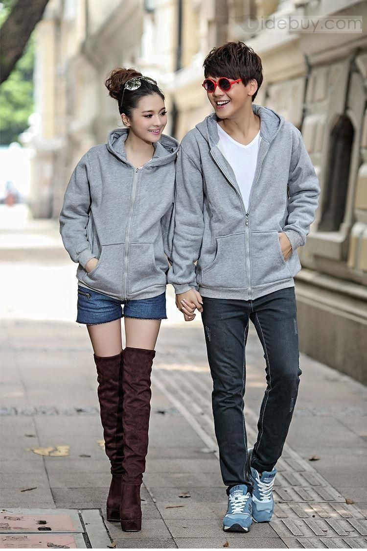New Stylish Simple Korean Large Size Comfortable Hooded Couple Outfits, New