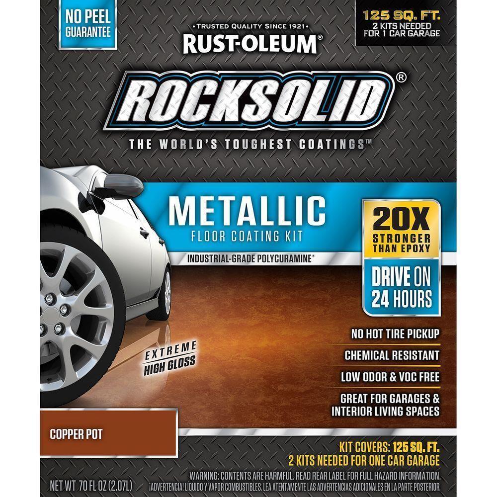 Rust oleum rocksolid oz metallic copper pot garage