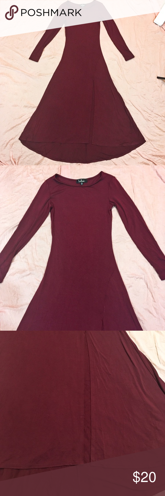 af2a8048ece Lulu s Burgundy Swept Away Maxi Dress XS Burgundy body con maxi dress from  Lulu