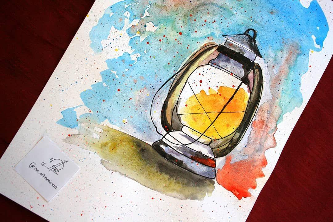 Ramadan Lantern Drawings Colorful رمضان مبارك فانوس رمضان Painting Art