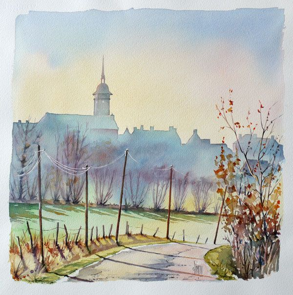 Saint Bomer Les Forges Watercolor By French Artist Joel Simon