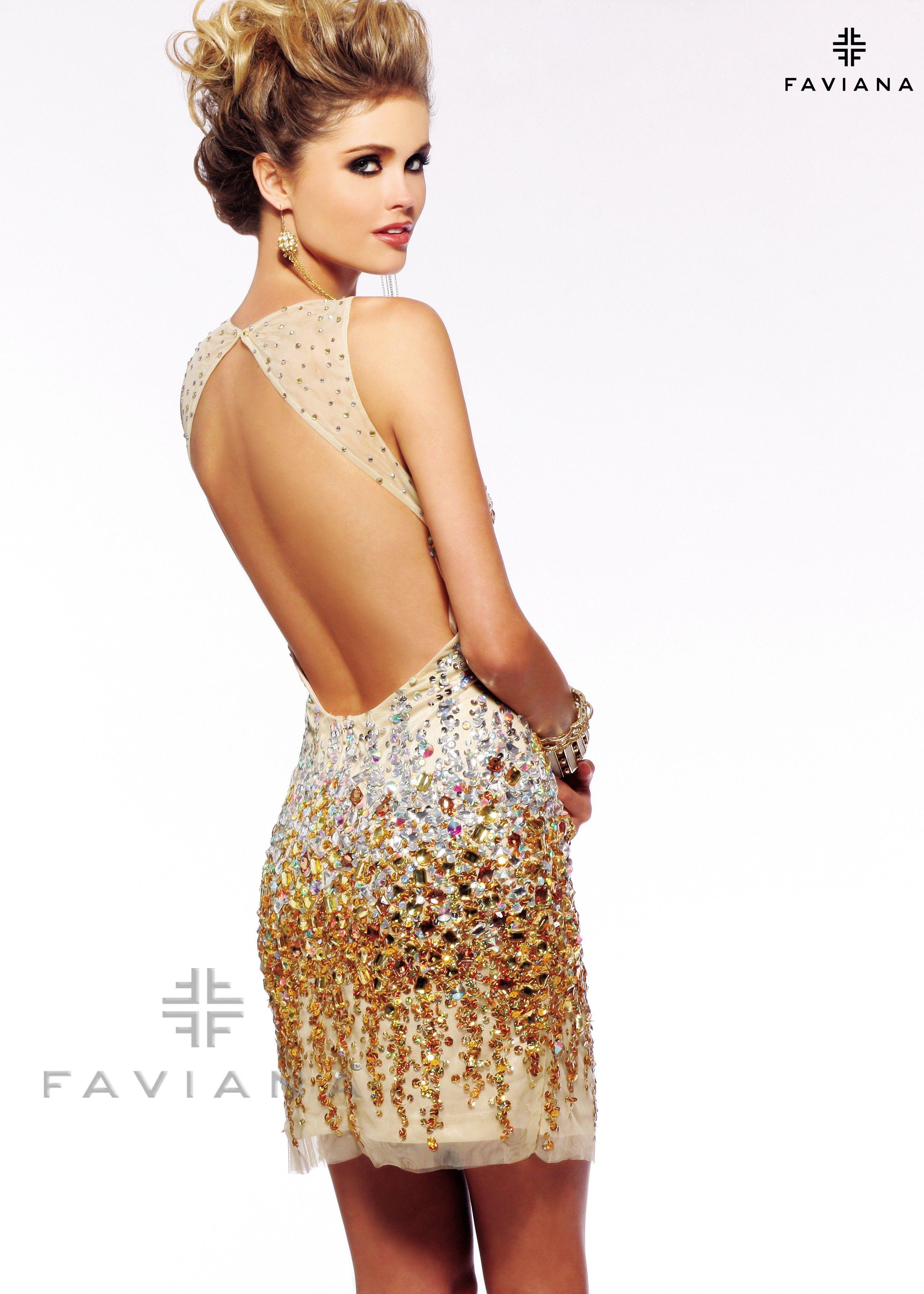 Faviana glamour s short beaded yellowgold mesh prom dress