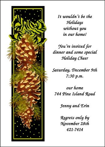 youu0027ll definitely need some pine cone invitation wording for this - invitation wording for christmas dinner party