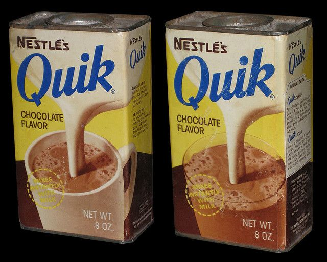 Nestle's Quik 8 oz can - 1970's. Yes! You had to pry the top off with a butter knife.